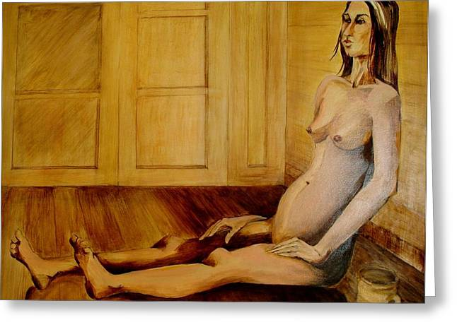 Woman At The Window Greeting Cards - Bare Greeting Card by Georgia Annwell