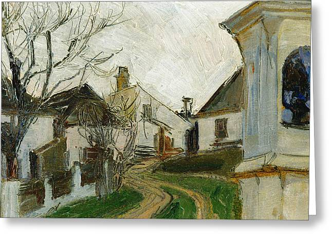 Bare Trees, Houses And Wayside Shrine Greeting Card by Egon Schiele