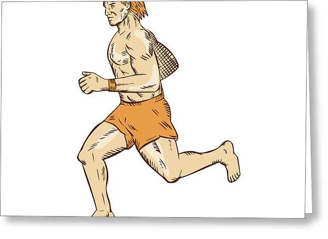 Barefoot Runner Running Side Etching Greeting Card by Aloysius Patrimonio