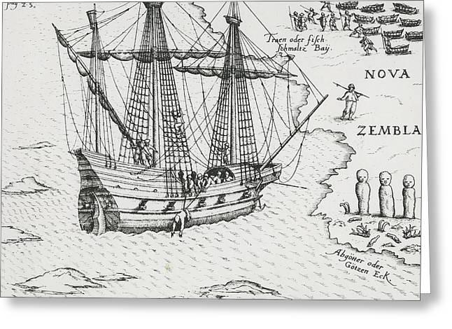 Barents' Ship At Nova Zembla Greeting Card by Dutch School