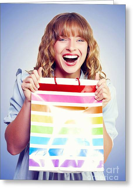 Bargain Shopping Woman Laughing With Joy Greeting Card by Jorgo Photography - Wall Art Gallery
