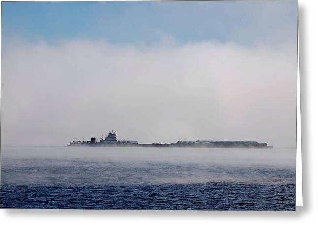 Barge In Morning Fog Greeting Card by Larry Nielson