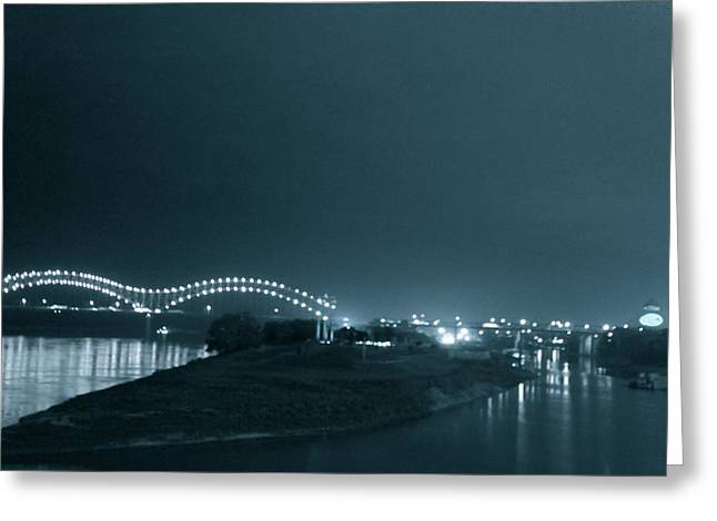 Barge On Mississippi River With Hernando De Soto Bridge, Memphis, Tn Greeting Card