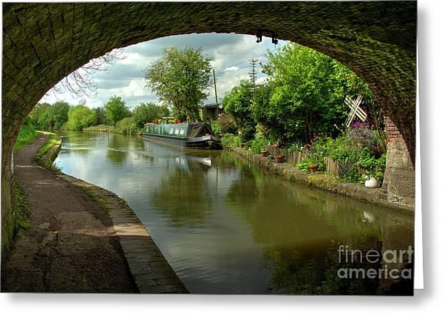 Barge Thro The Bridge Greeting Card by Rob Hawkins
