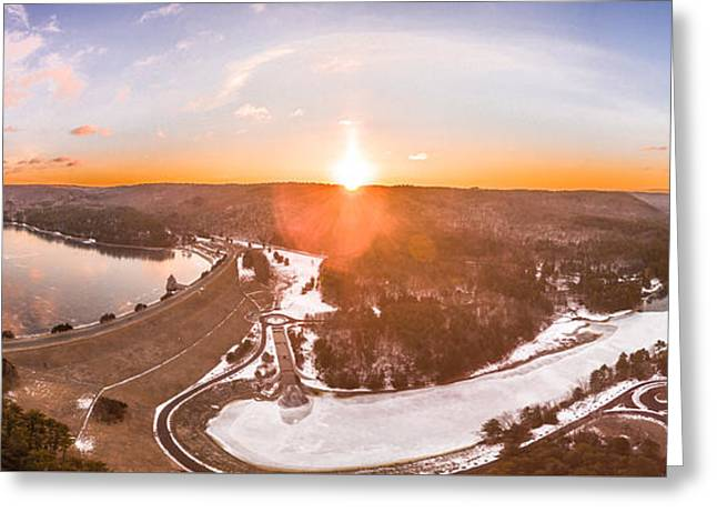 Greeting Card featuring the photograph Barkhamsted Reservoir And Saville Dam In Connecticut, Sunrise Panorama by Petr Hejl