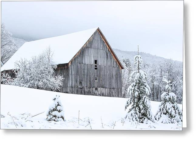 Barn After Snow Greeting Card