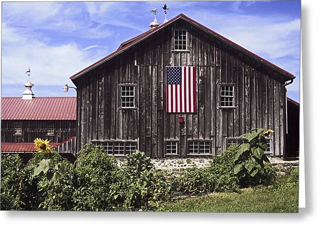 Barn And American Flag Greeting Card by Sally Weigand