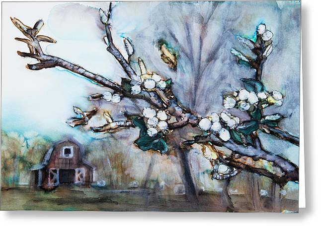 Abstract Expression Greeting Cards - Barn and Blossoms Greeting Card by Tara Thelen