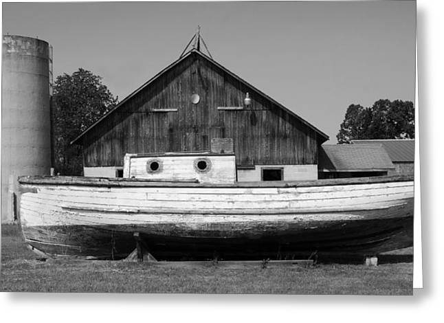 Barn And Boat - Door County Greeting Card by Stephen Mack