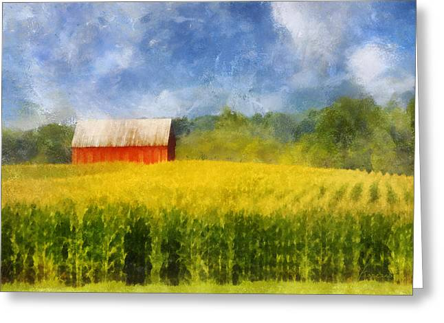 Barn And Cornfield Greeting Card by Francesa Miller