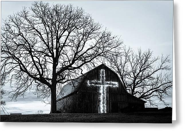 Christmas Light Cross On Barn Greeting Card by Gregory Ballos