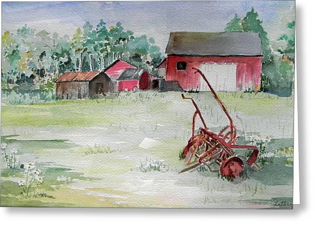 Barn And Cultivator Greeting Card