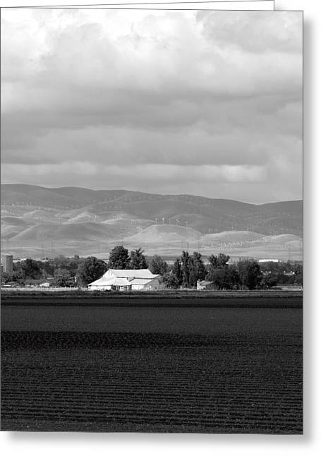 Barn And Plowed Fields Tracy Ca Greeting Card by Troy Montemayor