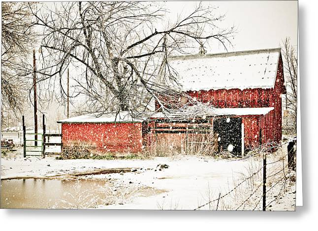 Barn And Pond Greeting Card by Marilyn Hunt