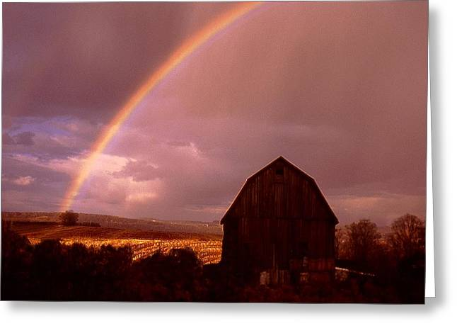 Barn And Rainbow In Autumn Greeting Card