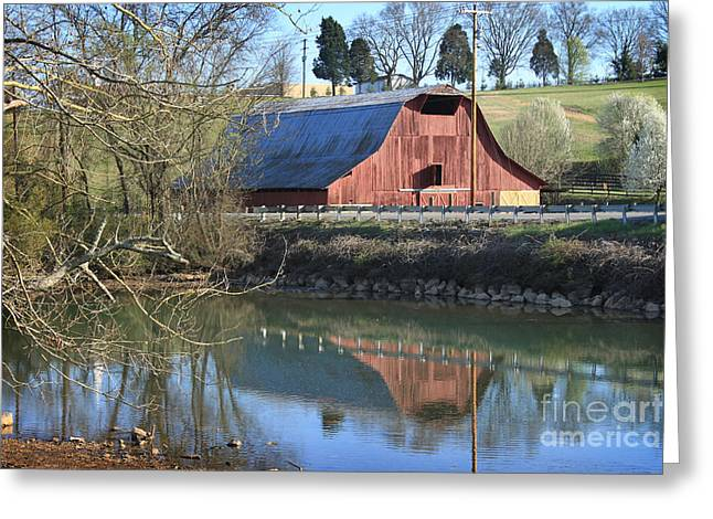 Greeting Card featuring the photograph Barn And Reflections by Todd Blanchard