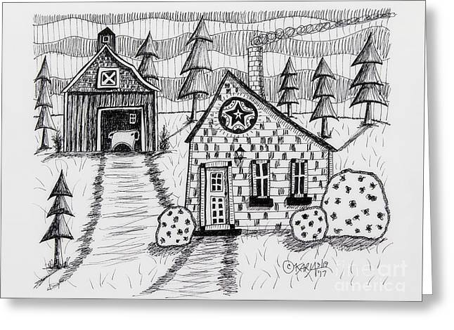 Barn And Sheep Greeting Card by Karla Gerard