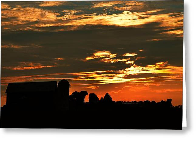 Barn And Silo At Sunset Greeting Card