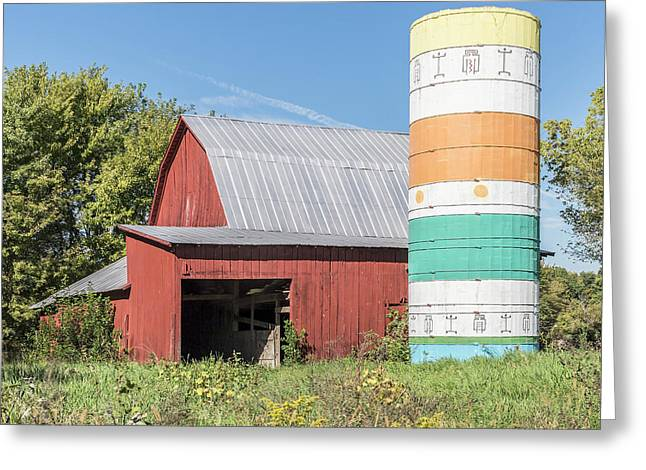 Barn And Silo.  Greeting Card by William Morris