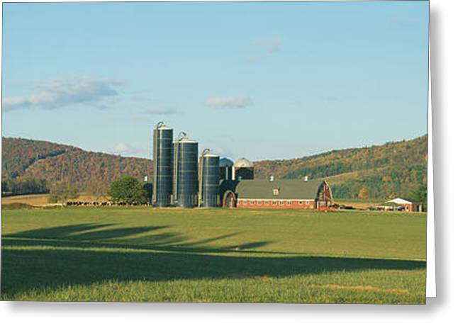 Barn And Silos, Dutchess County, New Greeting Card by Panoramic Images