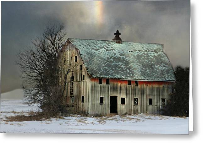Barn And Sundog Greeting Card