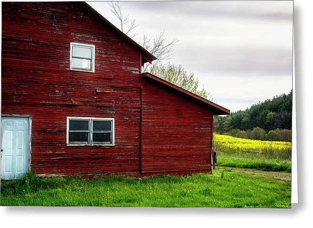Barn And Wildflowers Greeting Card by Greg Mimbs