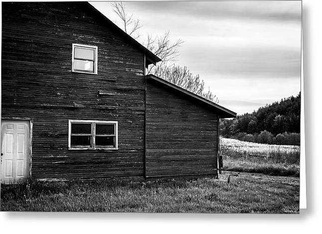 Barn And Wildflowers In Black And White Greeting Card by Greg Mimbs