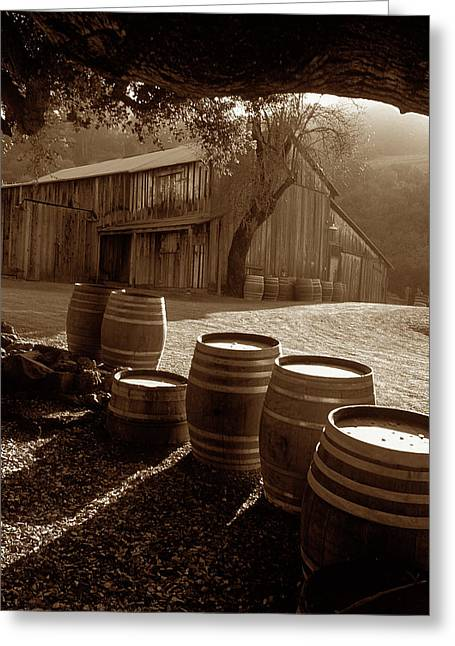Landscape Framed Prints Greeting Cards - Barn and Wine Barrels 2 Greeting Card by Kathy Yates