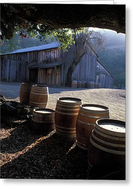 Featured Art Greeting Cards - Barn and Wine Barrels Greeting Card by Kathy Yates