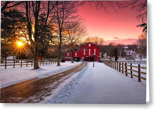 Barn At Sunset  Greeting Card
