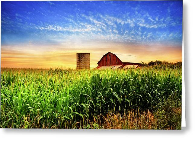 Barn At The Farm At Sunset Greeting Card by Debra and Dave Vanderlaan