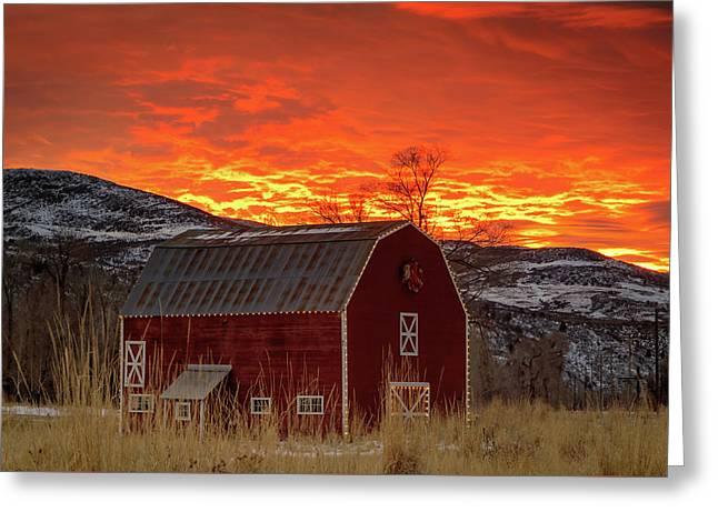 Barn Burner Sunset. Greeting Card