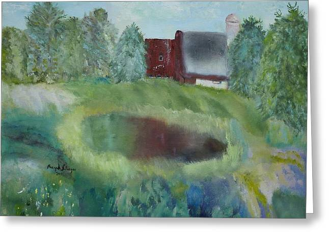 Barn By Pond Greeting Card