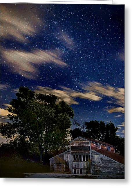 Barn - Clouds - Stars Greeting Card by Nikolyn McDonald