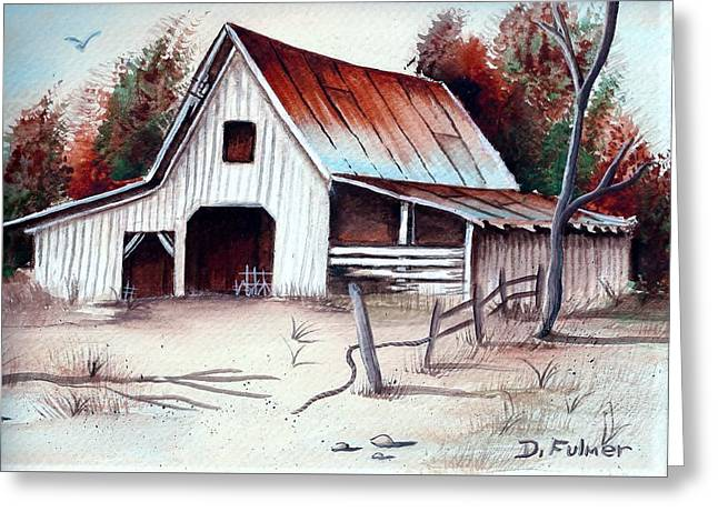 Greeting Card featuring the painting Barn by Denise Fulmer