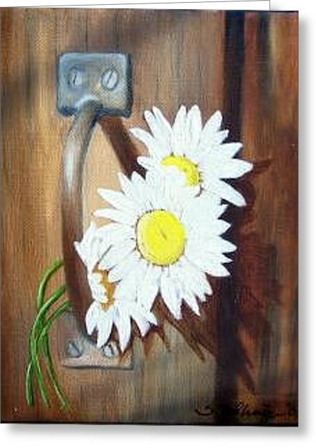 Barn Door Daisies Sold Greeting Card