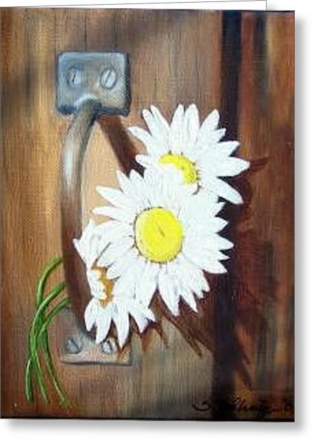 Barn Door Daisies Sold Greeting Card by Susan Dehlinger