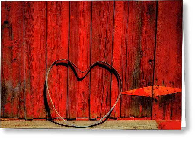 Barn Door With Heart Greeting Card by Garry Gay