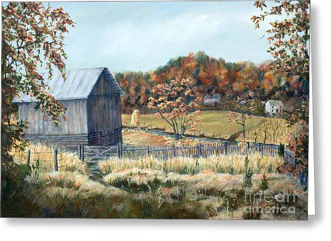 Barn From Long Ago Greeting Card by Janet Felts