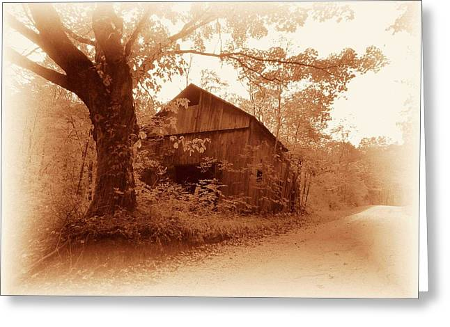 Barn Hocking Co Ohio Sepia Greeting Card