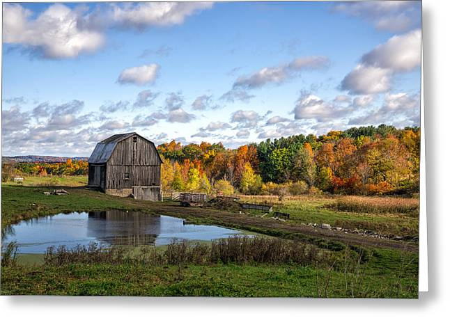 Greeting Card featuring the photograph Barn In Autumn by Mark Papke
