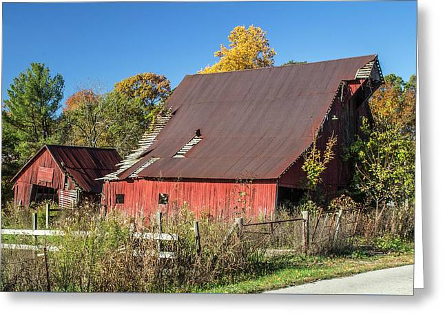 Barn In Autumn Greeting Card by William Morris