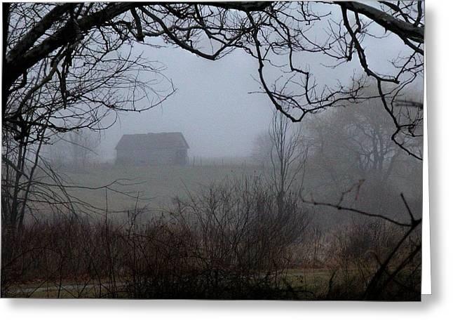 Barn In Fog Greeting Card by Michael L Kimble