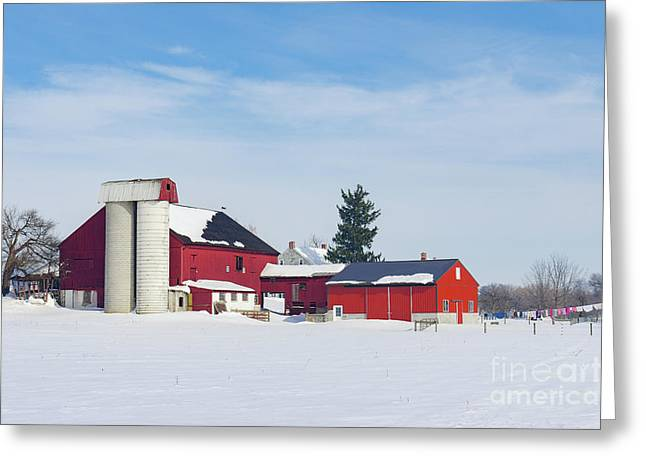 Barn In Snow Covered Meadow Greeting Card