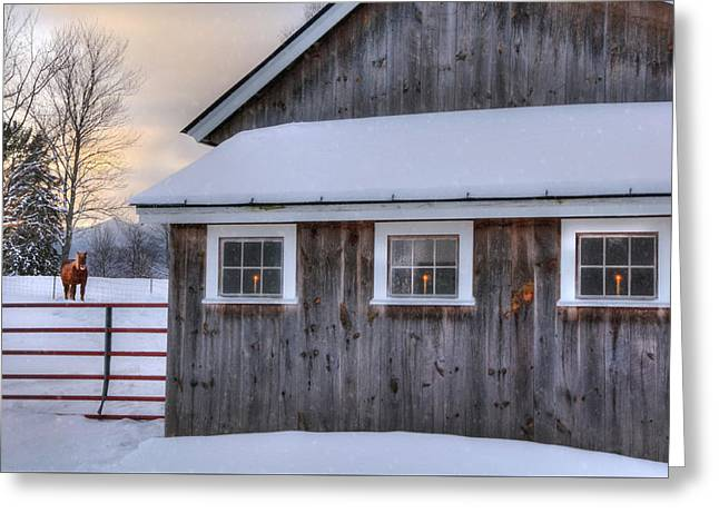 Barn In Snow - White Mountains, New Hampshire Greeting Card