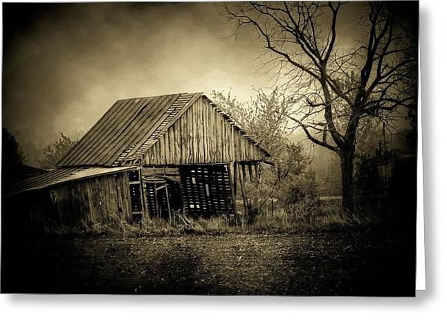 Barn In Storm Greeting Card by Michael L Kimble