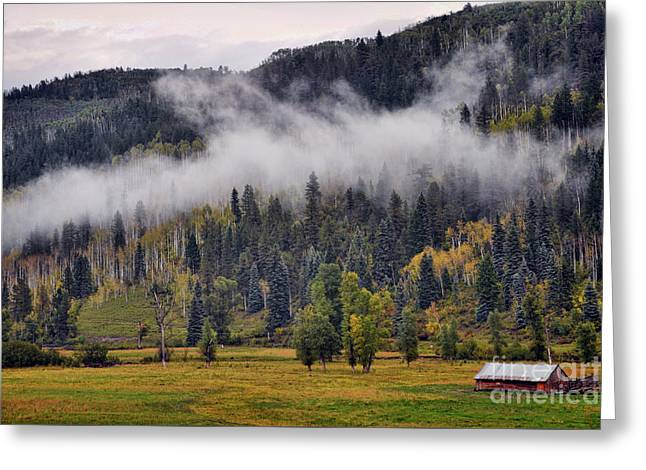 Barn In The Mist Greeting Card
