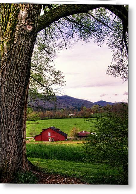 Barn In The Valley Greeting Card by Greg Mimbs