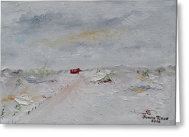 Greeting Card featuring the painting Barn In Winter by Judith Rhue