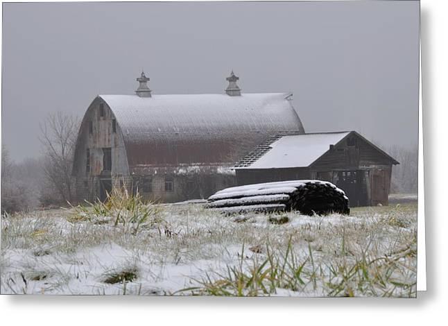 Barn In Winter Greeting Card